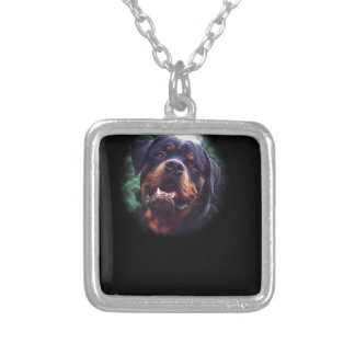 Rottweiler Design Silver Plated Necklace