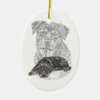 Rottweiler Dog Art Ceramic Oval Decoration