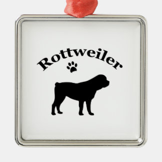 Rottweiler dog black silhouette paw print ornament