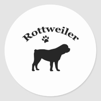 Rottweiler dog black silhouette paw print stickers
