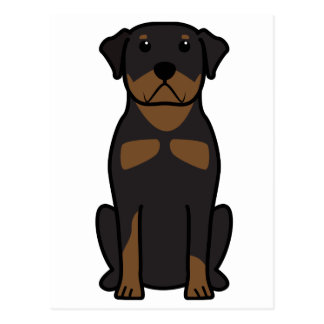 Rottweiler Dog Cartoon Postcard