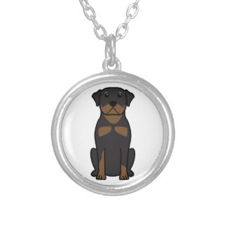Rottweiler Dog Cartoon Silver Plated Necklace