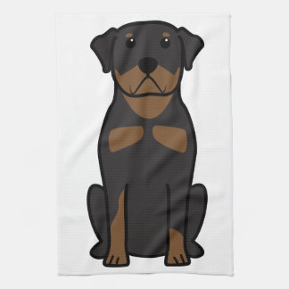 Rottweiler Dog Cartoon Tea Towel