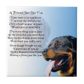 Rottweiler Dog - Friend Poem Tile