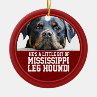 Rottweiler Dog Mississippi Leg Hound Red Funny Pet Christmas Ornament