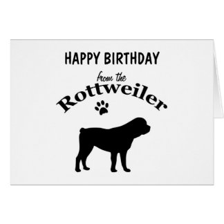 Rottweiler dog silhouette custom birthday card