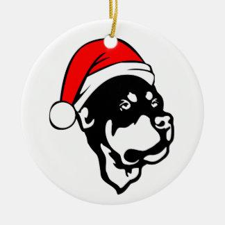 Rottweiler Dog wearing Red Christmas Santa Hat Christmas Ornament