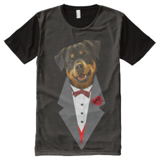 Rottweiler Dressed in a Tuxedo Design All-Over Print T-Shirt