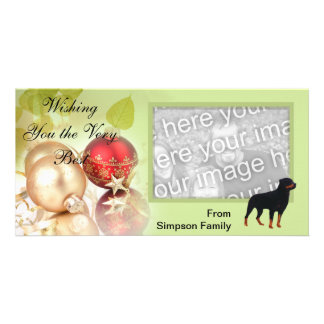 Rottweiler ~ Green Leaves Design Customized Photo Card