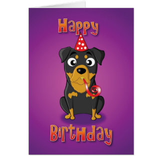 rottweiler - hat&whistle - happy birthday card