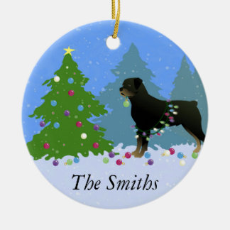 Rottweiler in the Christmas Forest Christmas Ornament