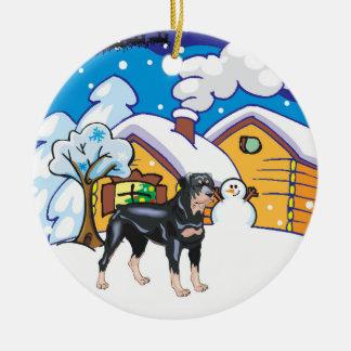 Rottweiler Log Cabin Christmas Ornament