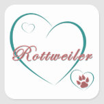 Rottweiler Love Square Stickers