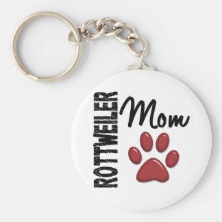 Rottweiler Mom 2 Basic Round Button Key Ring