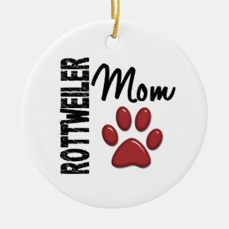 Rottweiler Mom 2 Double-Sided Ceramic Round Christmas Ornament