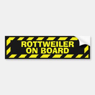 Rottweiler on board yellow caution sticker