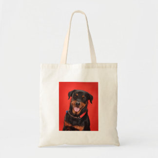 Rottweiler on Red Tote Bag