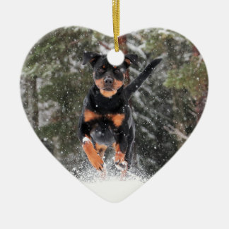 Rottweiler Ornament-Running In Winter Snow Christmas Ornament