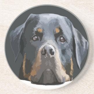 Rottweiler Portrait Vector Beverage Coaster