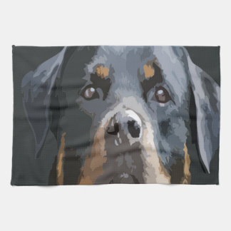 Rottweiler Portrait Vector Tea Towel