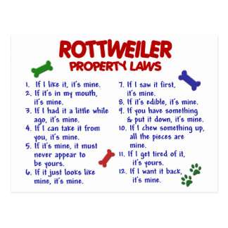 ROTTWEILER Property Laws 2 Post Card