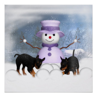 Rottweiler Puppies Playing In The Snow Poster