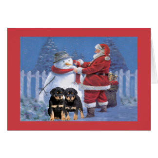 Rottweiler Puppy Christmas Card Santa and Snowman