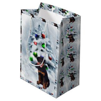 Rottweiler Puppy Christmas Medium Gift Bag