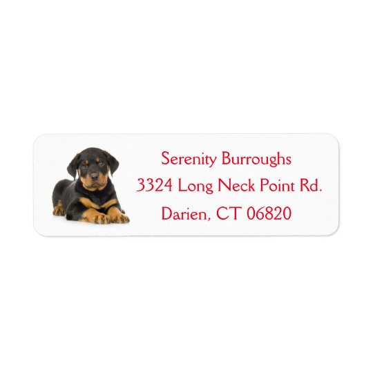 Rottweiler Puppy Dog Red Canine Address Label