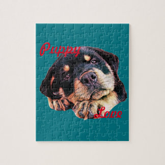 Rottweiler Puppy Love Rott Dog Canine German Breed Jigsaw Puzzle