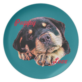 Rottweiler Puppy Love Rott Dog Canine German Breed Plate