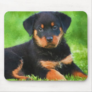 Rottweiler Puppy on the Grass Watercolor Mouse Mat