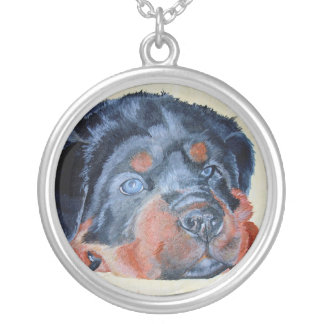 Rottweiler Puppy Portrait Silver Plated Necklace