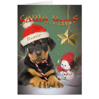 Rottweiler Puppy Santa Paws cards