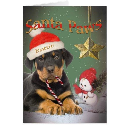 Rottweiler Puppy Santa Paws cards