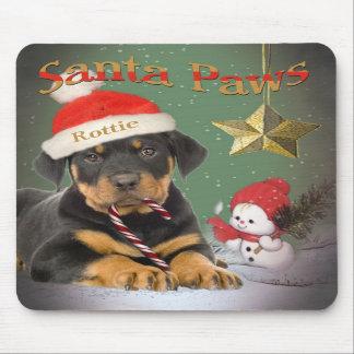 Rottweiler Puppy Santa Paws Mousepad