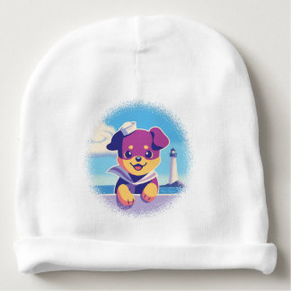 Rottweiler Puppy Sea Dog Sailor Baby Beanie