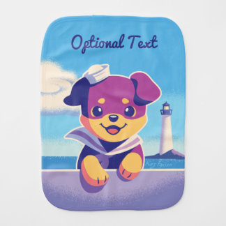 Rottweiler Puppy Sea Dog Sailor Burp Cloth