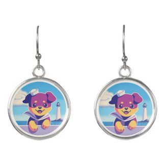 Rottweiler Puppy Sea Dog Sailor Earrings
