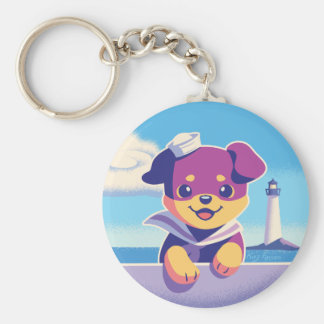 Rottweiler Puppy Sea Dog Sailor Key Ring