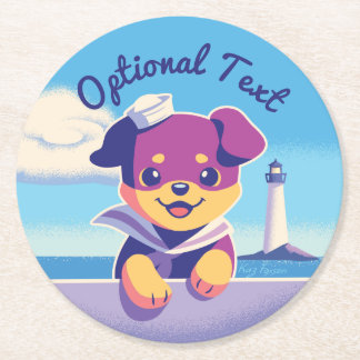Rottweiler Puppy Sea Dog Sailor Round Paper Coaster