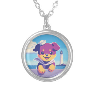 Rottweiler Puppy Sea Dog Sailor Silver Plated Necklace