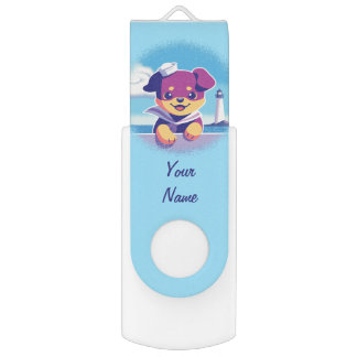 Rottweiler Puppy Sea Dog Sailor USB Flash Drive