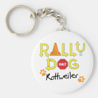 Rottweiler Rally Dog Basic Round Button Key Ring