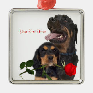 Rottweiler  Red Rose Valentine Design Silver-Colored Square Decoration