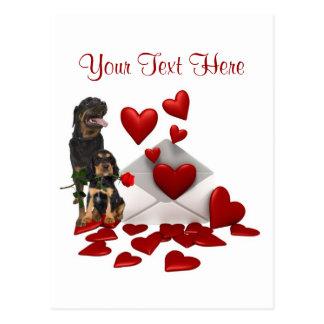 Rottweiler  Red Rose Valentine Design Postcard