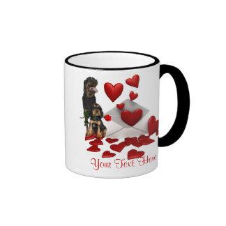Rottweiler  Red Rose Valentine Design Ringer Mug
