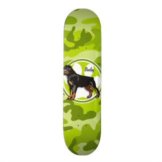Rottweiler, Rott; bright green camo, camouflage Skate Boards