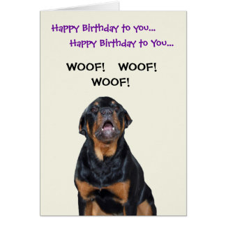 Rottweiler Sees the Mailman Birthday Card