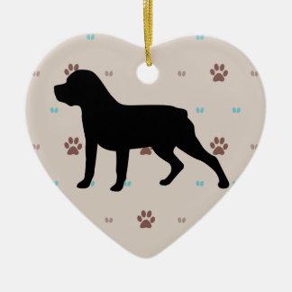 Rottweiler Silhouette Ceramic Heart Decoration